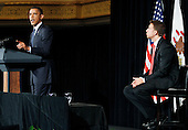 United States President Barack Obama (L) delivers remarks for U.S. Senate Candidate Alexi Giannoulias at a fund raiser at the Palmer House in Chicago, Thursday, August 5, 2010. .Credit: Jeff Haynes - Pool via CNP