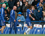 David Luiz of Chelsea holds his arm after clattering into the steadicam during the premier league match at Stamford Bridge Stadium, London. Picture date 17th September 2017. Picture credit should read: David Klein/Sportimage