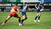 Cardiff Blues' Jarrod Evans gets the ball away<br /> <br /> Photographer Simon King/CameraSport<br /> <br /> Guinness Pro14 Round 6 - Cardiff Blues v Dragons - Friday 6th October 2017 - Cardiff Arms Park - Cardiff<br /> <br /> World Copyright &copy; 2017 CameraSport. All rights reserved. 43 Linden Ave. Countesthorpe. Leicester. England. LE8 5PG - Tel: +44 (0) 116 277 4147 - admin@camerasport.com - www.camerasport.co