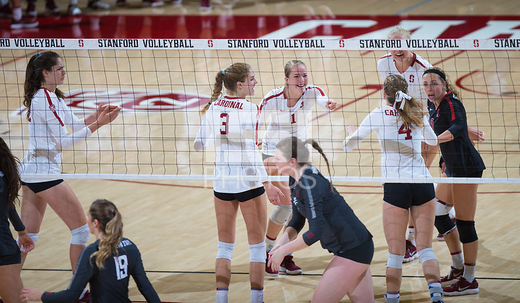 STANFORD, CA - October 12, 2018: Jenna Gray, Audriana Fitzmorris, Holly Campbell, Meghan McClure, Kathryn Plummer, Morgan Hentz at Maples Pavilion. No. 2 Stanford Cardinal swept No. 21 Washington State Cougars, 25-15, 30-28, 25-12.