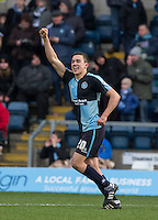 Luke O'Nien of Wycombe Wanderers celebrates his goal during the Sky Bet League 2 match between Wycombe Wanderers and Bristol Rovers at Adams Park, High Wycombe, England on 27 February 2016. Photo by Andy Rowland.