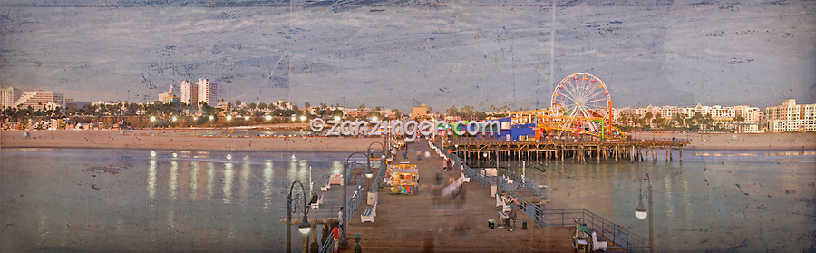 Santa Monica CA, Pacific Park Pier, Sunset, Panorama, Fine Art textured Print, Watercolor Effect Fine Art Photograph Digital texture overlay applied. Can be ordered without.