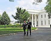 United States President Barack Obama and President Dmitry Medvedev of the Russian Federation walk down the driveway of the White House to attend a meeting at the U.S. Chamber of Commerce across Lafayette Park in Washington, D.C. on Thursday, June 24, 2010 ..Credit: Ron Sachs / CNP