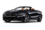 Stock pictures of low aggressive front three quarter view of 2019 BMW 8-Series - 2 Door Convertible Low Aggressive