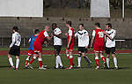 Edinburgh City 1 Brora Rangers 1, 25/04/2015. Commonwealth Stadium, Pyramid play-off 1st leg. Players from both teams shaking hands at the conclusion of the first-ever pyramid play-off match between Edinburgh City (white shirts) and Brora Rangers at the Commonwealth Stadium, Meadowbank. Lowland League champions Edinburgh City and Highland League champions Brora both progressed to a play-off to decide whether there would be a club promoted to the Scottish League for the first time in its history. The match ended in a 1-1 draw, the second leg was held the following week in Brora. Photo by Colin McPherson.
