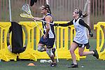 Santa Barbara, CA 02/19/11 - Leah Callister (UC Santa Cruz #14) and Megan Klute (CSU Fullerton #4) in action during the CSU Fullerton-UC Santa Cruz game at the 2011 Santa Barbara Shootout.