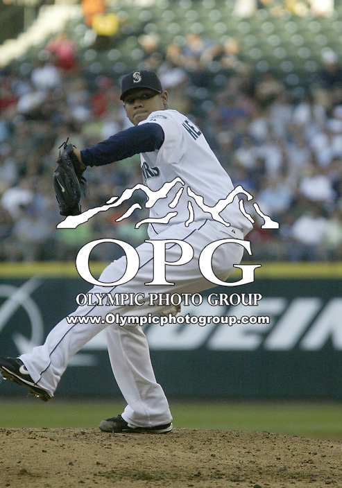 01 August 2007:   Seattle Mariners starting pitcher Felix Hernandez allowed 4 runs over eight innings pitched against the Los Angeles Angels at Safeco Field . Seattle won 8-7 in 12 innings.