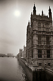 ENGLAND, London, a section of the Palace of Westminster and the River Thames as seen from the Westminster Bridge (B&W)