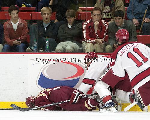 Johnny Gaudreau (BC - 13), Kevin Guiltinan (Harvard - 6) - The visiting Boston College Eagles defeated the Harvard University Crimson 5-1 on Wednesday, November 20, 2013, at Bright-Landry Hockey Center in Cambridge, Massachusetts.