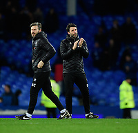 Lincoln City's assistant manager Nicky Cowley, left, and Lincoln City manager Danny Cowley at the end of the game<br /> <br /> Photographer Chris Vaughan/CameraSport<br /> <br /> Emirates FA Cup Third Round - Everton v Lincoln City - Saturday 5th January 2019 - Goodison Park - Liverpool<br />  <br /> World Copyright &copy; 2019 CameraSport. All rights reserved. 43 Linden Ave. Countesthorpe. Leicester. England. LE8 5PG - Tel: +44 (0) 116 277 4147 - admin@camerasport.com - www.camerasport.com