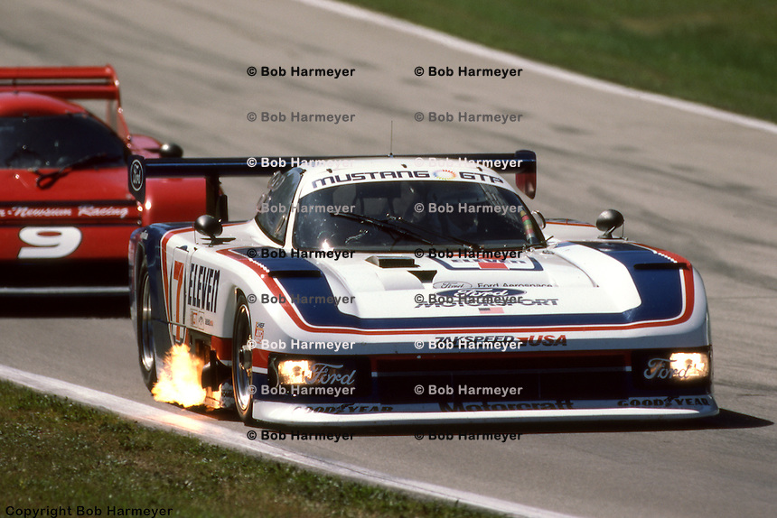ELKHART LAKE, WI - AUGUST 26:  Bobby Rahal drives the Ford Mustang GTP during the Budweiser 500 on August 26, 1984, at Road America near Elkhart Lake, Wisconsin.