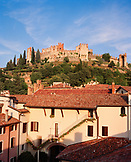 ITALY, Soave, view of the buildings at the Pieropan Winery with the old castle walls in the background.