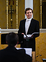 London, UK. 06.04.2013. Ensemble Serse present LUCIO PAPIRIO DITTATORE, as part of the Handel Festival, in the Grosvenor Chapel, Mayfair. Artistic Director, Calvin Wells, is one of very few male sopranos in the opera world. Photograph shows: Benjamin Wiliamson (as Lucio Papirio). Photograph © Jane Hobson.