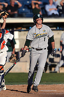 Garrett Deschamp #1 of the Tulane Green Wave bats during a game against the Pepperdine Waves at Eddy D. Field Stadium on March 13, 2015 in Malibu, California. Tulane defeated Pepperdine, 9-3. (Larry Goren/Four Seam Images)