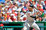 20 May 2012: Baltimore Orioles outfielder Nick Markakis in action against the Washington Nationals at Nationals Park in Washington, DC. The Nationals defeated the Orioles 9-3 to salvage the third game of their 3-game series. Mandatory Credit: Ed Wolfstein Photo