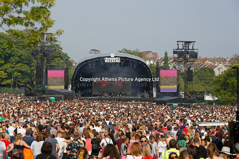 Pictured: General view of the main stage. Saturday 26 May 2018<br /> Re: BBC Radio 1 Biggest Weekend at Singleton Park in Swansea, Wales, UK.