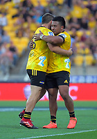 Dane Coles (Hurricanes) replaces Asafo Aumua (right) during the Super Rugby match between the Hurricanes and Sharks at Sky Stadium in Wellington, New Zealand on Saturday, 15 February 2020. Photo: Dave Lintott / lintottphoto.co.nz