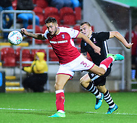 Lincoln City's Harry Anderson vies for possession with Rotherham United&rsquo;s Joe Mattock<br /> <br /> Photographer Andrew Vaughan/CameraSport<br /> <br /> The Carabao Cup First Round - Rotherham United v Lincoln City - Tuesday 8th August 2017 - New York Stadium - Rotherham<br />  <br /> World Copyright &copy; 2017 CameraSport. All rights reserved. 43 Linden Ave. Countesthorpe. Leicester. England. LE8 5PG - Tel: +44 (0) 116 277 4147 - admin@camerasport.com - www.camerasport.com