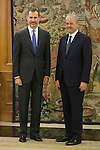 King Felipe VI of Spain receives Abdelmalek Sellal, Prime Minister of Algeria, during an official meeting at Zarzuela Palace in Madrid, Spain. July 21, 2015. (ALTERPHOTOS/Victor Blanco)