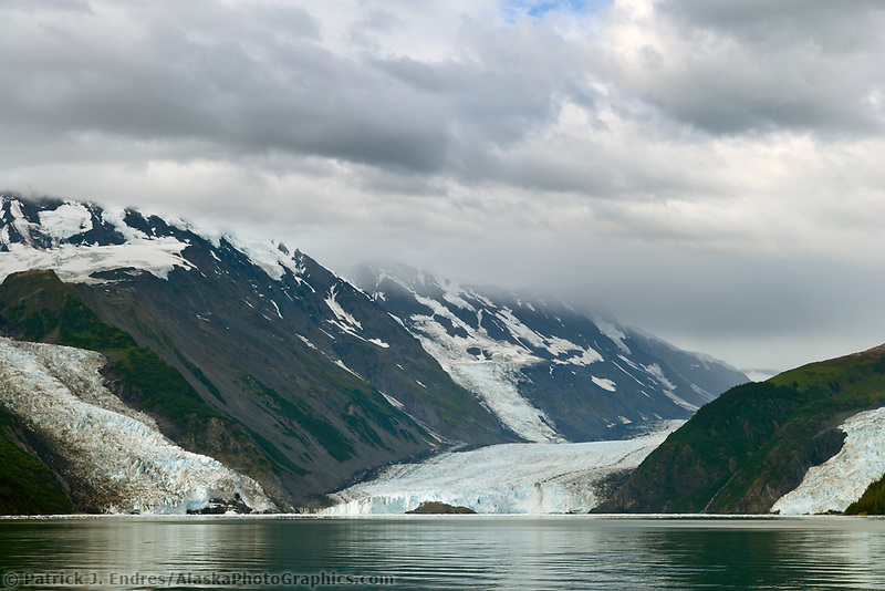 Cascade, Barry and Coxe Glaciers flow out of the Chugach mountains, Chugach National Forest, Prince William Sound, Alaska.