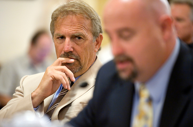 UNITED STATES - SEPTEMBER 22:  Actor Kevin Costner, left, and Craig Taffaro, president of St. Bernard Parish, La., testified before a House Committee on Homeland Security on the Department of Homeland Security's leadership in disaster planning and response related to the Deepwater Horizon Oil Spill.  Costner's company, Ocean Therapy Solutions, develops oiling separating technology that have assisted in clean up off the gulf.  (Photo By Tom Williams/Roll Call via Getty Images)