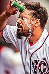 20 May 2018: Washington Nationals third baseman Anthony Rendon cools off in the dugout prior to a game against the Los Angeles Dodgers at Nationals Park in Washington, DC. The Dodgers defeated the Nationals 7-2, sweeping their 3-game series. Mandatory Credit: Ed Wolfstein Photo *** RAW (NEF) Image File Available ***