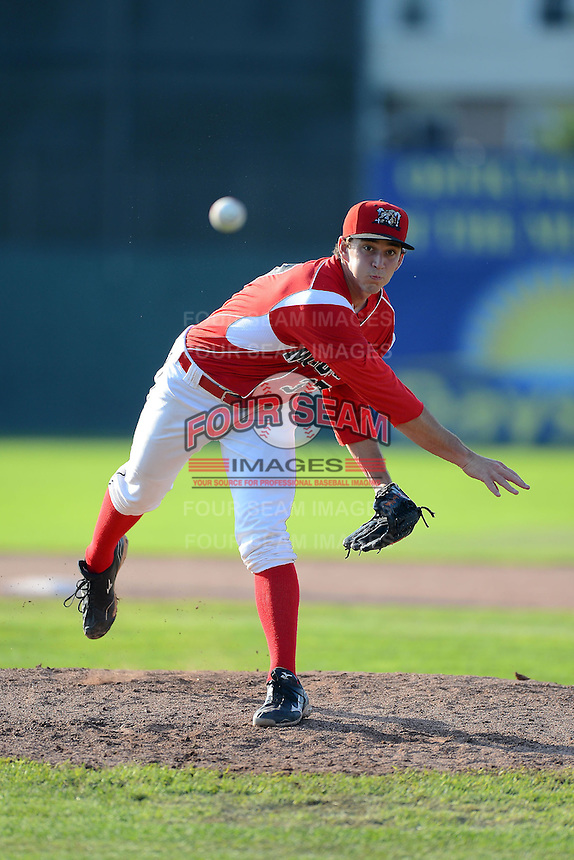 Batavia Muckdogs pitcher Casey McCarthy (37) during a game against the State College Spikes on June 29, 2013 at Dwyer Stadium in Batavia, New York.  Batavia defeated State College 3-1.  (Mike Janes/Four Seam Images)