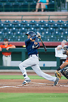 AZL Brewers shortstop Yeison Coca (7) follows through on his swing against the AZL Giants on August 15, 2017 at Scottsdale Stadium in Scottsdale, Arizona. AZL Giants defeated the AZL Brewers 4-3. (Zachary Lucy/Four Seam Images)