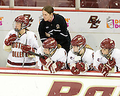 Dru Burns (BC - 7), Katie King (BC - Head Coach), Laura Hart (BC - 27), Megan Shea (BC - 23), Caitlin Walsh (BC - 11) - The Boston College Eagles defeated the visiting Northeastern University Huskies 2-1 on Sunday, January 30, 2011, at Conte Forum in Chestnut Hill, Massachusetts.