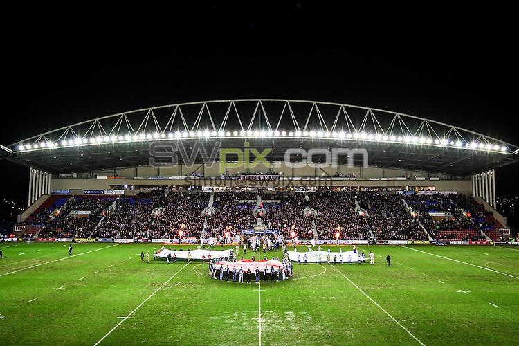 Picture by Alex Whitehead/SWpix.com - 21/02/2015 - Rugby League - World Club Series - Wigan Warriors v Brisbane Broncos - DW Stadium, Wigan, England - GV, General View.