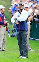 Vice Captain Tiger Woods US Team makes his way to the 10th tee during Thursday's Practice Day of the 41st RyderCup held at Hazeltine National Golf Club, Chaska, Minnesota, USA. 29th September 2016.<br /> Picture: Eoin Clarke | Golffile<br /> <br /> <br /> All photos usage must carry mandatory copyright credit (&copy; Golffile | Eoin Clarke)