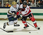Oct. 21, 2011; Kevin Nugent (20) fights for the puck in the opening Hockey game in the Compton Family Ice Arena. Notre Dame won 5-2...Photo by Matt Cashore/University of Notre Dame