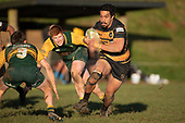 Pat Masoe makes a run towards Gregor Christie. Counties Manukau Premier Club Rugby game between Bombay and Pukekohe, played at Bombay on Saturday June 30th 2018.<br /> Bombay won the game 24 - 14 after leading 24 - 0 at halftime.<br /> Bombay 24 - Sepuloni Taufa, Tulele Masoe, Chay Mackwood, Liam Daniela tries, Ki Anufe 2 conversions.<br /> Pukekohe Mitre 10 Mega 14 - Joshua Baverstock, Gregor Christie tries; Cody White 2 conversions.<br /> Photo by Richard Spranger.