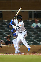Scottsdale Scorpions Luis Carpio (6), of the New York Mets organization, at bat during an Arizona Fall League game against the Glendale Desert Dogs on September 20, 2019 at Salt River Fields at Talking Stick in Scottsdale, Arizona. Scottsdale defeated Glendale 3-2. (Zachary Lucy/Four Seam Images)