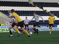 Kieran Doran playing the ball through to Jack Smith in the St Mirren v Falkirk Clydesdale Bank Scottish Premier League Under 20 match played at St Mirren Park, Paisley on 30.4.13.
