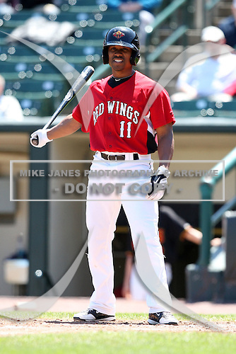 Rochester Red Wings Jacque Jones (11) during a game vs. the Louisville Bats Sunday, May 16, 2010 at Frontier Field in Rochester, New York.   Rochester defeated Louisville by the score of 4-3.  Photo By Mike Janes/Four Seam Images