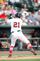 Great Lakes Loons Gorman Erickson (21) at Dow Diamond in Midland, MI. The Loons are the Midwest League affiliate of the Los Angeles Dodgers. July 8, 2010. Photo By Chris Proctor/Four Seam Images