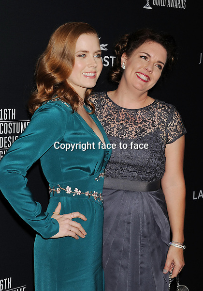 BEVERLY HILLS, CA- FEBRUARY 22: Actress Amy Adams (L) and guest arrive at the 16th Costume Designers Guild Awards at The Beverly Hilton Hotel on February 22, 2014 in Beverly Hills, California.<br />
