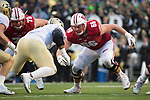 Wisconsin Badgers offensive lineman Beau Benzschawel (66) during an NCAA College Football Big Ten Conference game against the Purdue Boilermakers Saturday, October 14, 2017, in Madison, Wis. The Badgers won 17-9. (Photo by David Stluka)