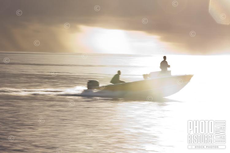 Local poti marara, a fishing speedboat, off Raiatea, Tahiti