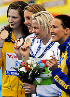 Roma 2nd August 2009 - 13th Fina World Championships .From 17th to 2nd August 2009.Women's 50 Breastroke.Cate CAMPBELL (AUS) Bronze Medal, Magdalena VELDHUIS (NED) Bronze Medal, Britta STEFFEN (GER) Gold Medal, Therese ALSHAMMAR (SWE) Silver Medal.Roma2009.com/InsideFoto/SeaSee.com . .Foto Andrea Staccioli Insidefoto