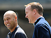 New York Yankees shortstop No. 2 Derek Jeter, left, has a laugh with Denver Broncos quarterback Peyton Manning during batting practice taken before the start of a Major League Baseball game versus the Tampa Bay Rays at Yankee Stadium on May 4, 2014.<br /> <br /> James Escher