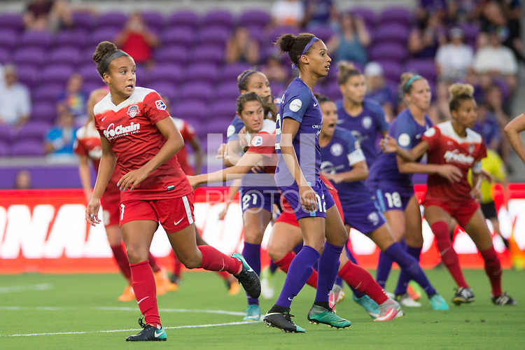 Orlando, FL - Tuesday August 08, 2017: Mallory Pugh, Kristen Edmonds during a regular season National Women's Soccer League (NWSL) match between the Orlando Pride and the Chicago Red Stars at Orlando City Stadium.