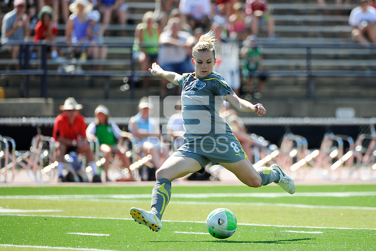 Amy Rodriguez (8) of the Philadelphia Independence shoots and scores  during a Women's Professional Soccer (WPS) match against the Boston Breakers at John A. Farrell Stadium in West Chester, PA, on July 4, 2010.