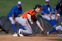 San Francisco Giants Tyler Brown (1) tags out a runner during an instructional league game against the Kansas City Royals on October 23, 2015 at the Papago Baseball Facility in Phoenix, Arizona.  (Mike Janes/Four Seam Images)