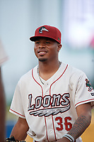 Great Lakes Loons Jasiel Alvino (36) during a Midwest League game against the Clinton LumberKings on July 19, 2019 at Dow Diamond in Midland, Michigan.  Clinton defeated Great Lakes 3-2.  (Mike Janes/Four Seam Images)