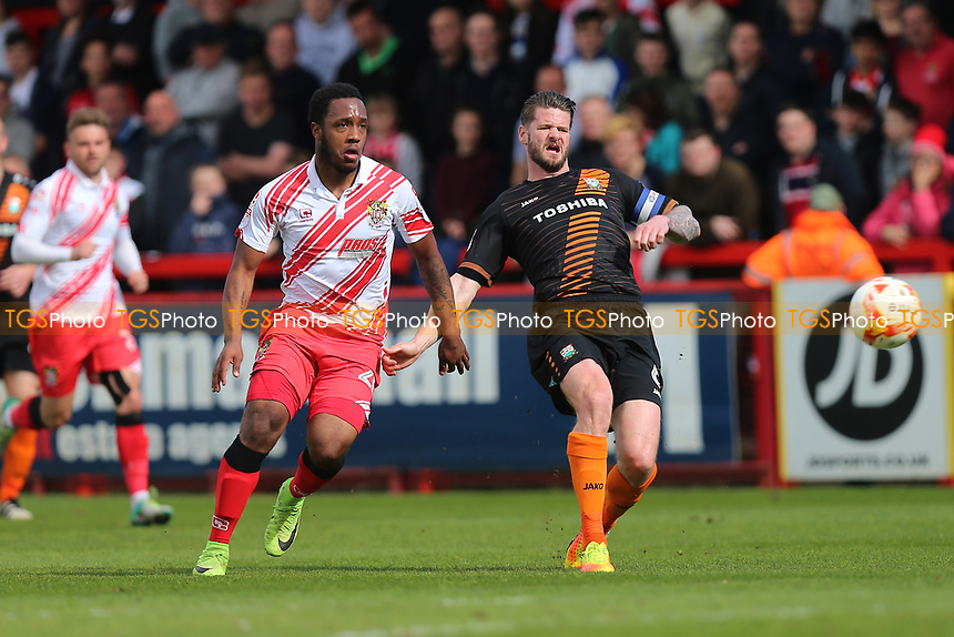 Kaylen Hinds of Stevenage and Michael Nelson of Barnet during Stevenage vs Barnet, Sky Bet EFL League 2 Football at the Lamex Stadium on 1st April 2017