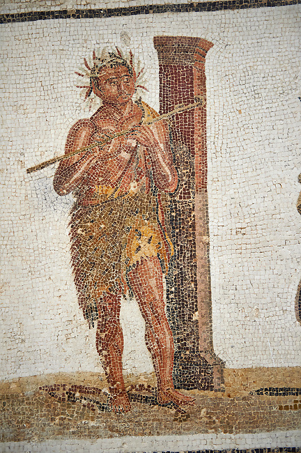Picture of a satyr wearing a panther skin playing a flute from a Roman mosaic depicting Dionysus Riding a Panther, from Abdel Jelil. 2nd century AD. El Djem Archaeological Museum, El Djem, Tunisia.