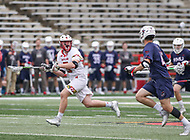 College Park, MD - May 13, 2018: Maryland Terrapins Justin Shockey (3) wins the face off during the NCAA first round game between Robert Morris and Maryland at  Capital One Field at Maryland Stadium in College Park, MD.  (Photo by Elliott Brown/Media Images International)