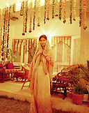 INDIA, New Delhi, portrait of young woman at a wedding, New Delhi